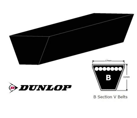 k section v belt b152 17x3861li dunlop v belt b section
