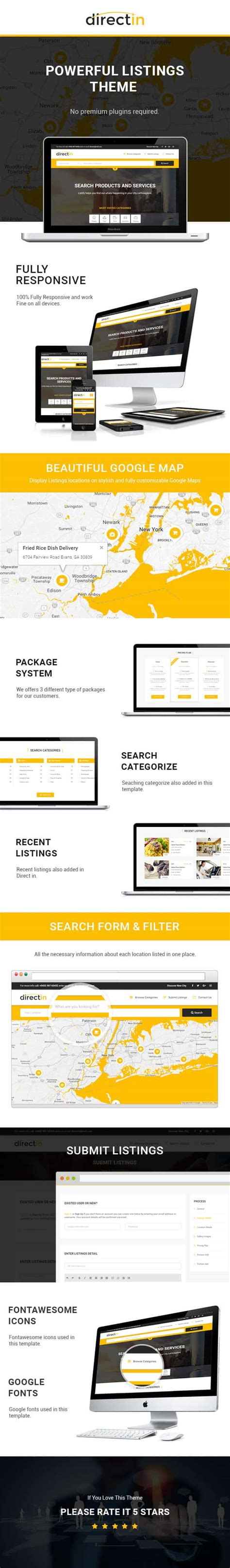 Directin Classified Ads Listing Html Template For Directory Realty Property And Yellow Pages Yellow Pages Website Template Free