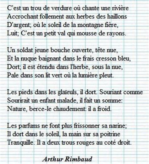 Rimbaud Le Dormeur Du Val Texte by Le Dormeur Du Val Poeme A Rimbaud Vers Et Prose