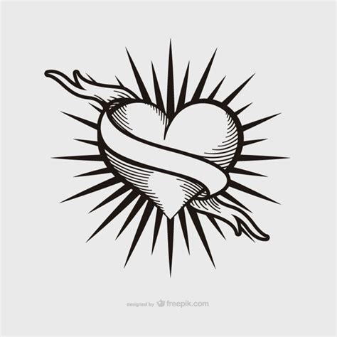 Heart Tattoos Vector | vintage heart tattoo design vector free download