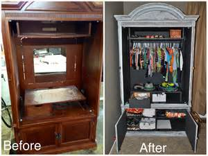 repurposed refinished tv armoire for baby s clothes for