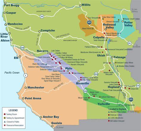 california map mendocino map of mendocino tasting rooms local wine