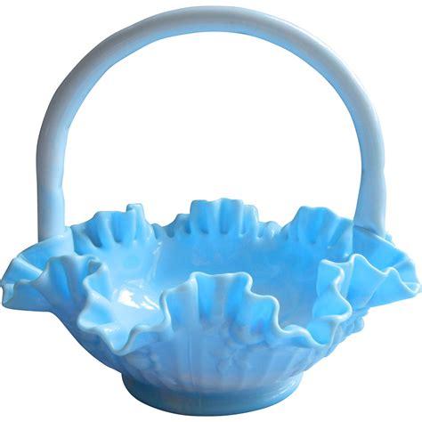 fenton light fenton blue cabbage slag basket vintage glass large
