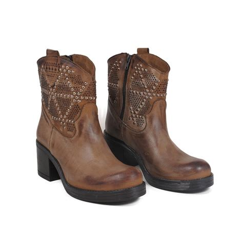 ankle biker boots with heel studs and strass in genuine