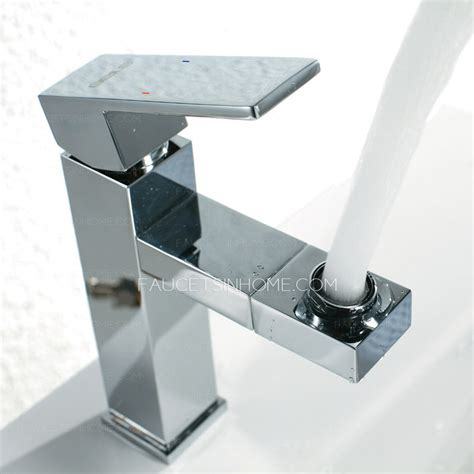 square bathroom faucets contemporary rotatable square shape chrome bathroom faucets