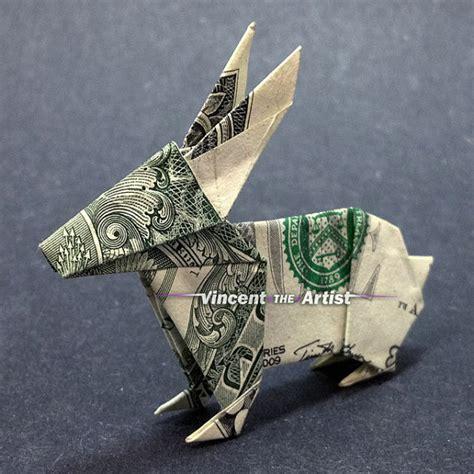 Origami Money Bunny - dollar bill origami rabbit great gift idea by vincenttheartist