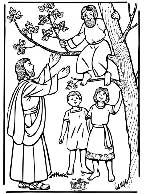 zacchaeus coloring page zacchaeus and jesus new testament