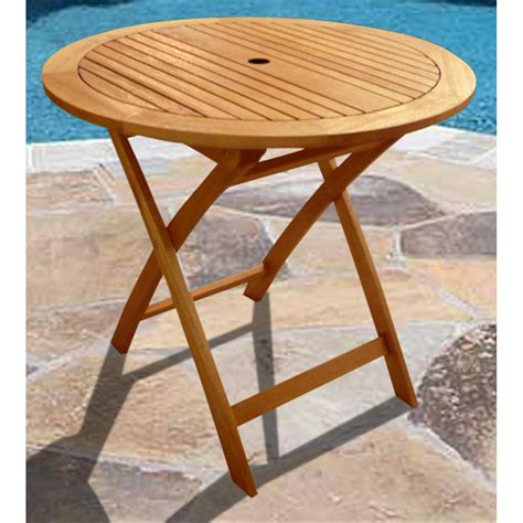 Outdoor Wood Patio Table Vifah 174 Round Outdoor Wood Folding Table 218660 Patio