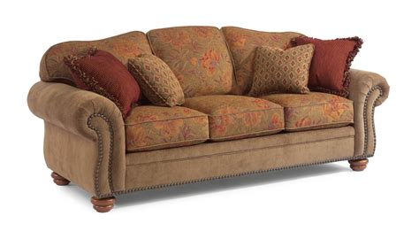flexsteel bexley sofa flexsteel living room two tone fabric sofa with nailhead