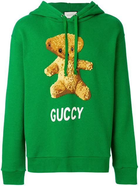 Hoodie Abu Co One 1 lyst gucci embroidedered teddy hoodie in green for