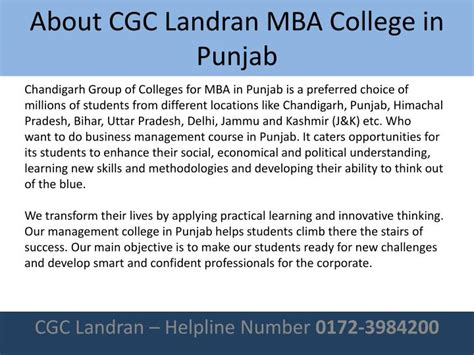 Cgc Landran Mba Placement ppt best mba college in punjab powerpoint presentation