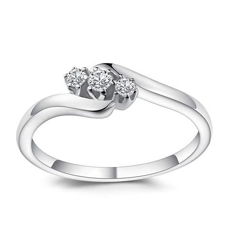 cut white sapphire sterling silver engagement ring