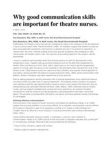Essay About Communication Skills by Why Communication Skills Are Important For Theatre Nurses