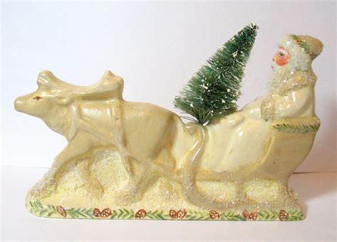 santa and sleigh vintage 40s plaster of paris german chalkware santa s422