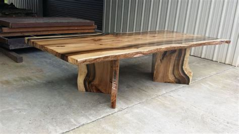 live edge table with glass and poplar burl timber salvabrani rainbow poplar live edge slab dining table with matching v shaped pedestals dining room in