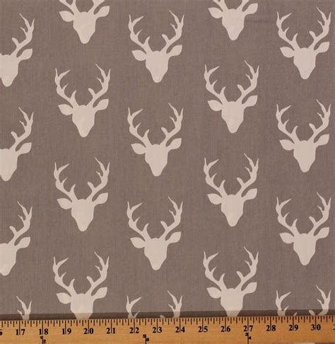 Animal Print Fabric For Upholstery Cotton Hello Bear Buck Forest Deer Head Silhouette Cotton