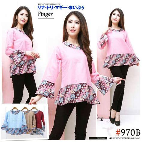 Blouse Kombinasi Lengan Terompet blouse atasan batik peplum kombinasi lengan terompet model