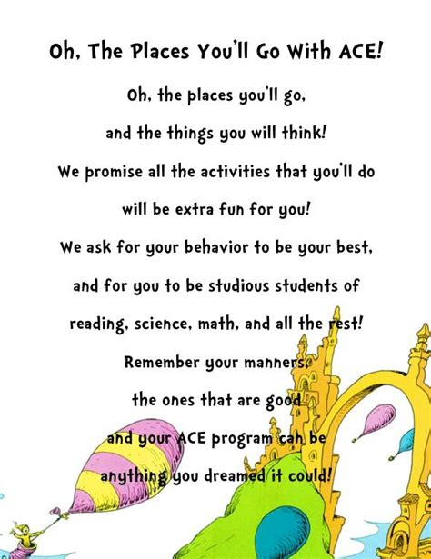 Rhyme Desk Oh The Places You Ll Go Class Poem Oh The Places You Ll