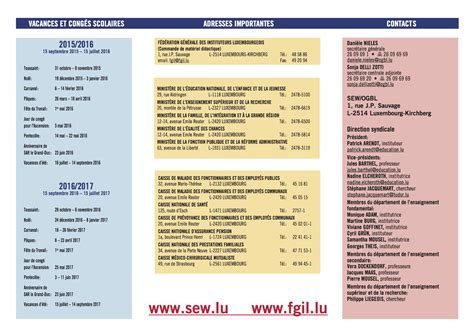 Calendrier 2016 Avec Vacances Scolaires Luxembourg Www Sew Lu Calendrier Scolaire