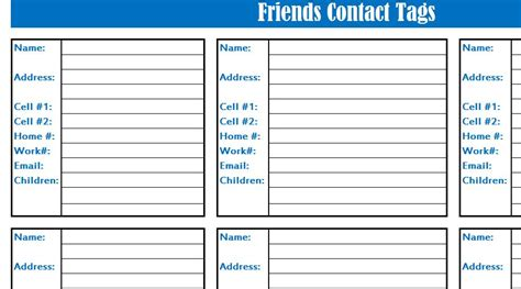 friends contact list  excel templates