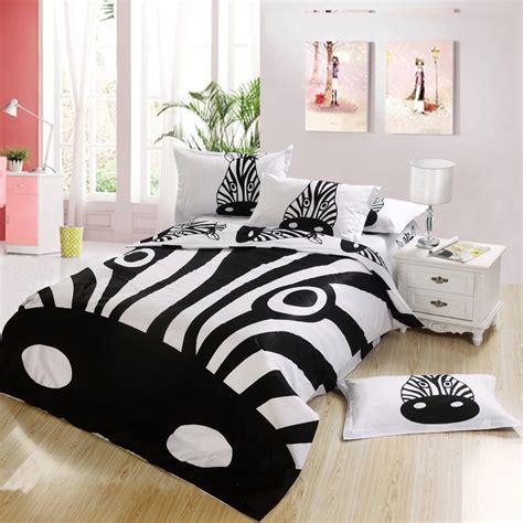 black  white zebra print kids bedding bedroom set king queen full twin size bed sheet
