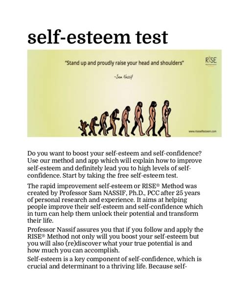 self testo self esteem test