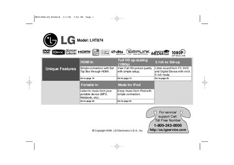 lg electronics stereo system lht874 user s guide