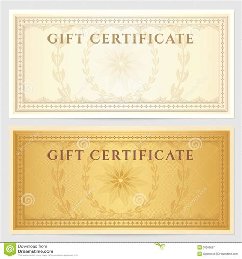 vintage gift certificate template vintage voucher coupon template with border stock vector