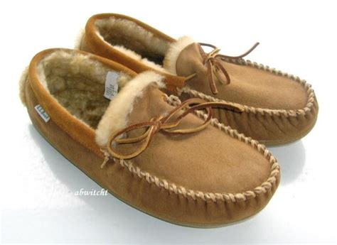 ll bean house slippers new mens l l bean wicked good moccasin slippers shearling slip on shoes 12 new ebay