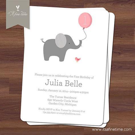 printable elephant birthday invitations birthday party invitation little elephant with ballon