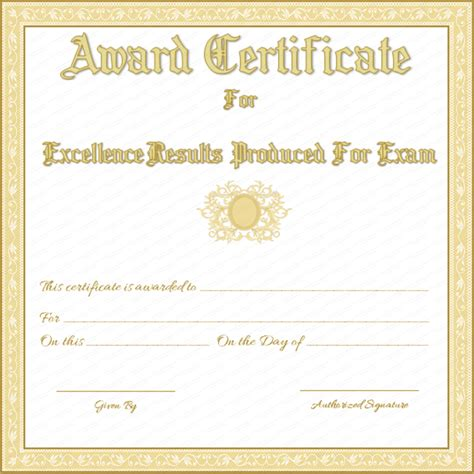 free printable award certificate for best results in exams