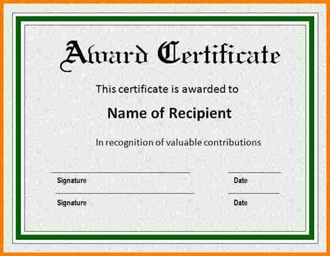 word template for certificate 9 ms word award certificate template sle of invoice