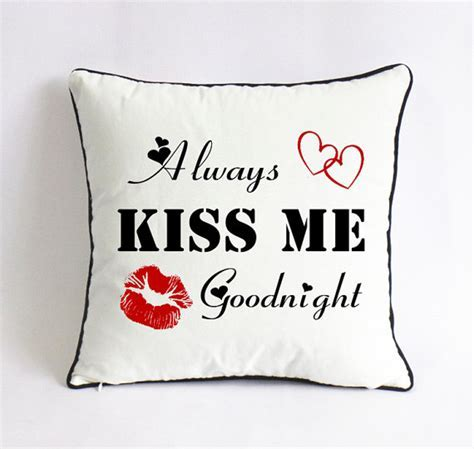 Always kiss me goodnight pillow 2nd anniversary cotton