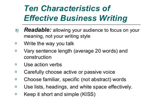 Effective Business Letter Definition Ten Characteristics In Effective Written Communication