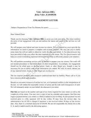 Tax Engagement Letter Template by Tax Preparer Letter To Client Edit Fill Out Print