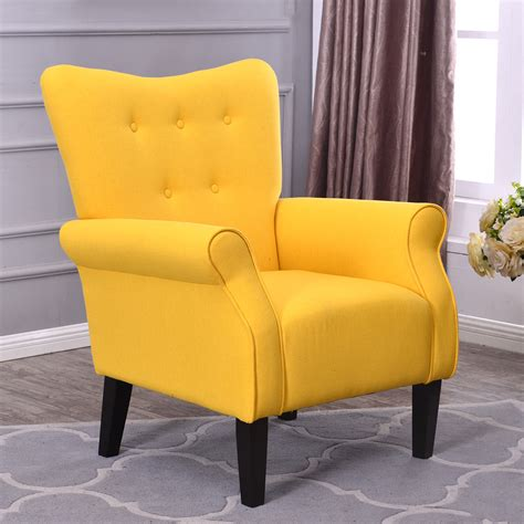 yellow living room chair arm chair accent single sofa linen fabric upholstered