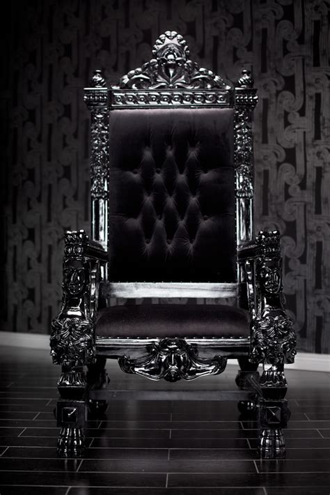 black lacquer baroque throne chair   king