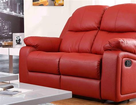 Montreal Rosso Red Reclining 2 Seater Leather Sofa Leather Sofa Montreal