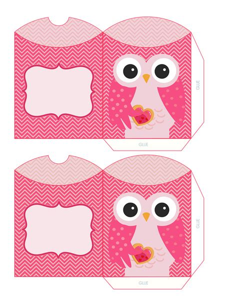 Printable Owl Holding A Card From Template Large by Cajas Almohada Con B 250 Hos Para Imprimir Gratis Oh My 15