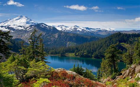 landscape nature lake mountain forest background