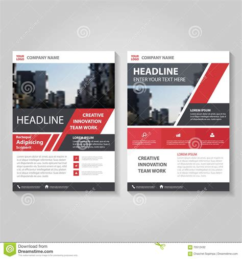leaflet layout powerpoint red vector annual report leaflet brochure flyer template