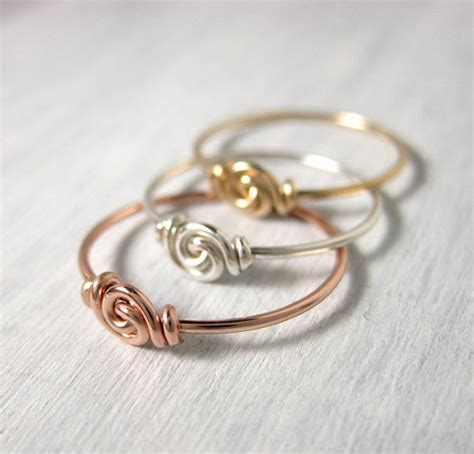 stackable rings set of three knot ring for tiny fingers
