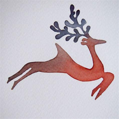 Handmade Reindeer - handmade watercolour reindeer card by kabinshop