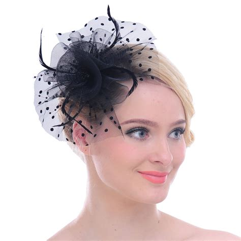 Small Dot Hair Accessories For Weddings by Faybox Mesh Point Bow Feather Fascinator Dot Veil