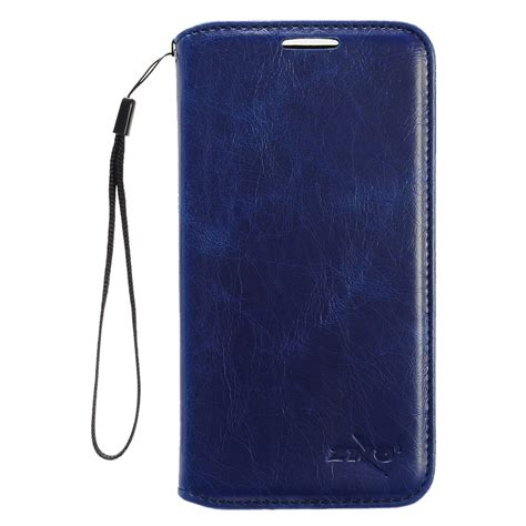 for zte grand x 4 damon x4 wallet phone cover with id card pocket slots