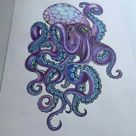 tattoo octopus designs violet octopus with blue suckers design
