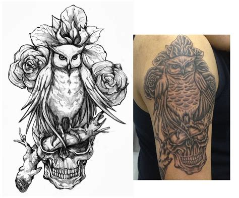 owl skull tattoo designs owl and ink
