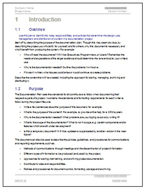 Technical Documentation Template documentation plan ms word template for software project
