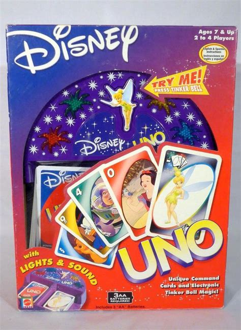 Disney Uno Mattel 2002 disney uno card set complete tested tinker bell electronic tray euc mattel cool