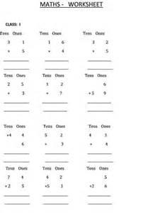 addition calculation class 1 maths worksheet
